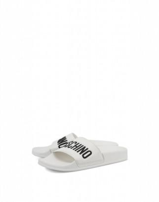 Moschino Pvc Sandal Slide With Logo Woman White Size 36 It - (6 Us)