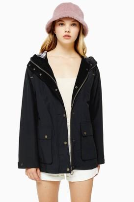 Topshop Navy Hooded Rain Mac
