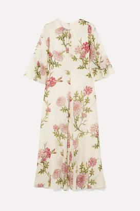 Giambattista Valli Ruffled Floral-print Silk-chiffon Midi Dress - Ivory