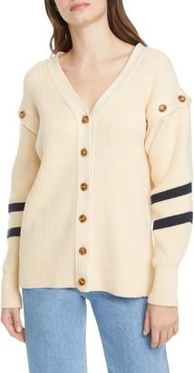 ADEAM Sailor Angel Hair Removable Sleeve Cotton Blend Cardigan