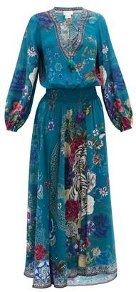 Camilla Lunar Gazing-print Silk-crepe Maxi Dress - Womens - Green Print