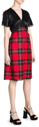 Miu Miu Tartan V-Neck A-Line Dress