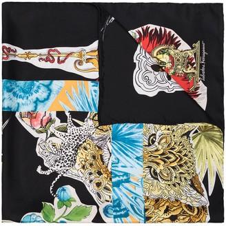 Salvatore Ferragamo Graphic Print Silk Scarf
