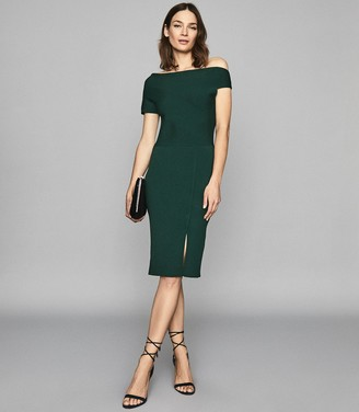 Reiss Lavinia - Knitted Bodycon Dress in Green