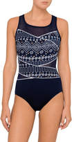 Jantzen Poolproof Origami Mesh Taped High Neck