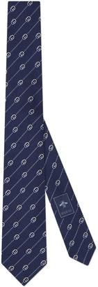 Gucci Interlocking G and dots silk wool tie