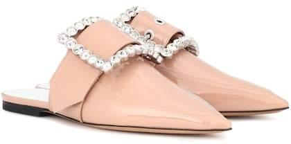 Maison Margiela Embellished patent leather slippers