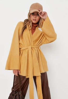 Missguided Mustard Belted Long Knitted Cardigan
