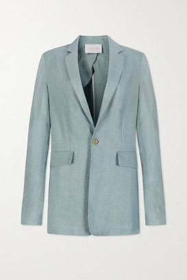 ASCENO Azores Oversized Organic Linen Blazer - Light blue