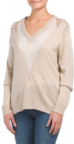 Juniors Mesh Inset Sweater