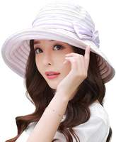 Siggi UV50+ Summer Sunhat for Women Bucket Packable Crushable Foldable Wide Brim Hats w/ Chin Cord Purple