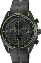 Citizen Men's Eco-Drive HTM Black IP Black Rubber Strap Watch