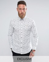 Farah Shirt with All Over Print in Slim Fit with Stretch