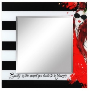 """Empire Art Direct Fashion Square Beveled Wall Mirror on Free Floating Reverse Printed Tempered Art Glass, 36"""" x 36"""" x 0.4"""""""
