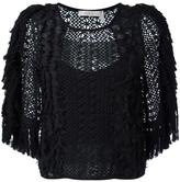 See by Chloe embroidered crochet fringed blouse - women - Cotton/Polyamide/Polyester/Viscose - 36