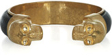Alexander McQueen Leather and brass double-skull cuff
