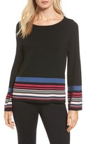 Vince Camuto Petite Women's Stripe Bell Sleeve Sweater