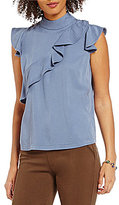 Chelsea & Theodore Mock Neck Cap Sleeve Ruffled Front Solid Blouse