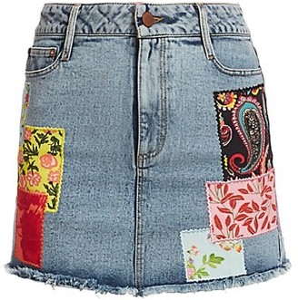 Alice + Olivia Jeans Good High-Rise Patchwork Skirt