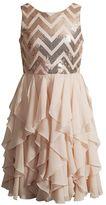 Girls 7-16 Emily West Sequin Chevron Waterfall Ruffle Skirt Dress