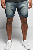 Boohoo Sand Blasted Abrased Denim Shorts