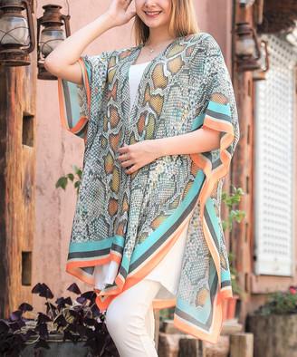 JC Sunny Women's Kimono Cardigans - Orange & Brown Snake Kimono