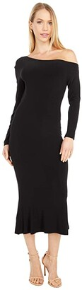 KAMALIKULTURE by Norma Kamali Long Sleeve Drop Shoulder Fishtail Dress To Midcalf (Black) Women's Clothing