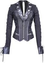 The Violet Vixen Lady Gothica's Steel Boned Jacket Style Corset, Plus Sizes Available