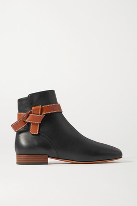 Loewe Gate Topstitched Two-tone Leather Ankle Boots - Black