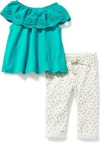 Old Navy Off-Shoulder Top & Tie-Front Pants Set for Baby