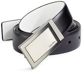 Calvin Klein Reversible Plaque Buckle Leather Belt
