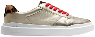 Cole Haan GrandPro Rally Leopard-Print Calf Hair Metallic Leather Sneakers