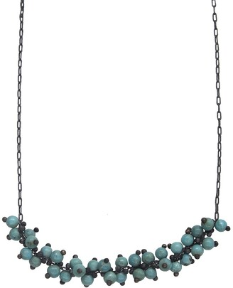 Ten Thousand Things Spiral Turquoise Beaded Oxidized Sterling Silver Choker Necklace