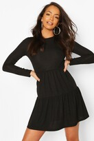 boohoo Rib Tiered Smock Dress