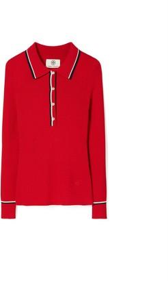 Tory Burch Merino Ribbed Polo Sweater