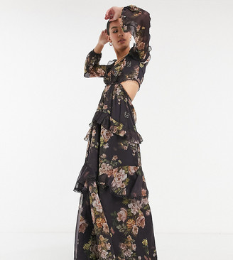 Asos Tall ASOS DESIGN Tall maxi dress with long sleeve and circle trim in floral print and embellishment in brown