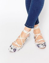Asos LAKE Lace Up Ballet Flats
