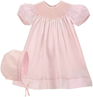 Carriage Boutique Imitation Pearl Cross Christening Gown & Bonnet Set