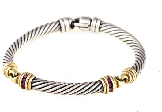 David Yurman 14k Yellow Gold and Sterling Silver Ruby Bracelet