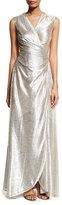 Talbot Runhof Koro Laminated Voile Wrap-Front Gown