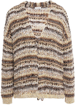 Brunello Cucinelli Sequin-embellished Metallic Striped Boucle-knit Cardigan