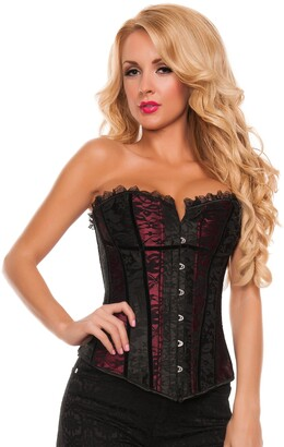 Starline Women's Lace Overlay and Lace Trim Corset