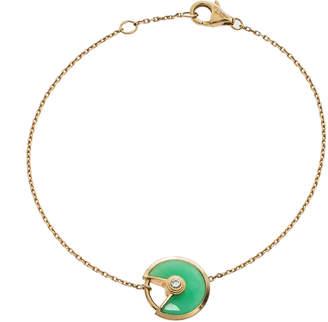 Cartier Amulette De Diamond Chrysoprase 18K Yellow Gold Bracelet