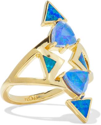 Noir 14-karat Gold-plated Stone Ring