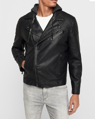 Express Vegan Leather Hooded Asymmetrical Moto Jacket
