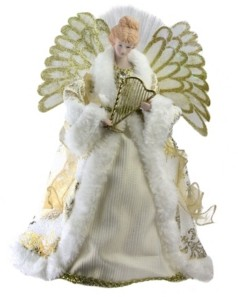 "Northlight 12"" Lighted Fiber Optic Angel in Gold and Cream Gown with Harp Christmas Tree Topper"