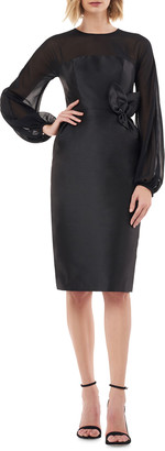 Kay Unger New York Jewel-Neck Blouson-Sleeve Mikado Sheath Dress w/ 3D Flower