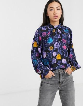 Monki rose print high neck blouse in multi