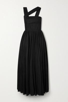Gabriela Hearst Norah Asymmetric Pleated Linen Midi Dress - Black