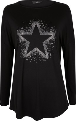 Wallis Black Embellished Star Print Top